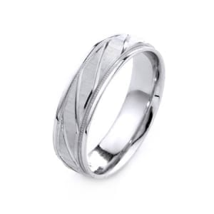 Modern Diagonal Lines Design High Quality Finishing Solid Fashion Wedding Band 14K White Gold 6MM Wide By 1.6MM Thick