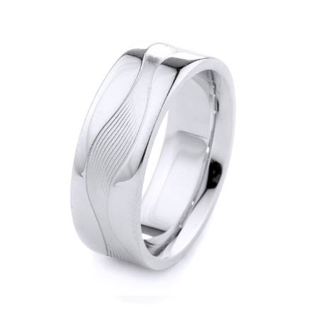 Modern Wavy Line Design High Quality Finishing Solid Fashion Wedding Band 14K White Gold 8MM Wide By 2.20MM Thick