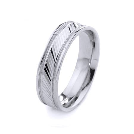 Modern & Milgrain Design High Quality Finishing Solid Fashion Wedding Band 14K White Gold 6MM Wide By 1.60MM Thick