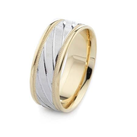 Two-Tone Modern Diagonal & Milgrain Modern Design High Quality Finishing Solid Fashion Wedding Band 14K White & Yellow Gold 8MM Wide By 1.60MM Thick