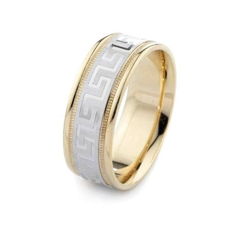Two-Tone Modern & Milgrain Design High Quality Finishing Solid Fashion Wedding Band 14K White & Yellow Gold 8MM Wide By 1.60MM Thick