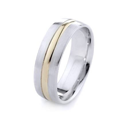 Two-Tone Modern Design High Quality Finishing Solid Fashion Wedding Band 14K White & Yellow Gold 7MM Wide By 1.60MM Thick