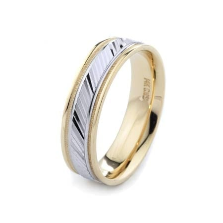 Two-Tone Modern Diagonal & Migrain Design High Quality Finishing Solid Fashion Wedding Band 14K White & Yellow Gold 6MM Wide By 1.60MM Thick