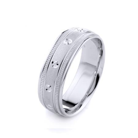 Modern Circles & Milgrain Design High Quality Finishing Solid Fashion Wedding Band 14K White Gold 7MM Wide By 1.60MM Thick