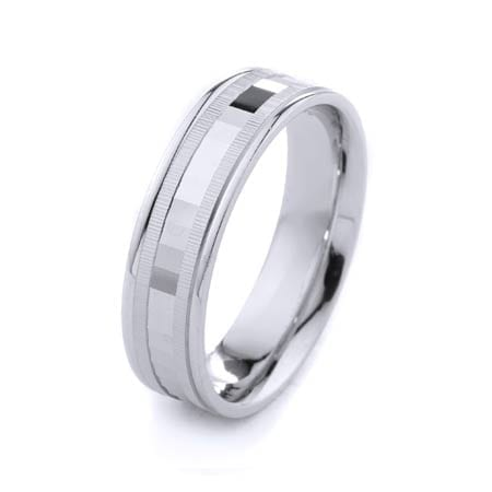 Modern Two Lines Design High Quality Finishing Solid Fashion Wedding Band 14K White Gold 6MM Wide By 1.60MM Thick