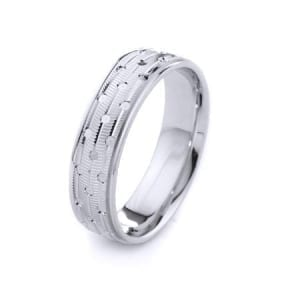 Modern Three Lines Milgrain With Points Design High Quality Finishing Solid Fashion Wedding Band 14K White Gold 6MM Wide By 1.60MM Thick