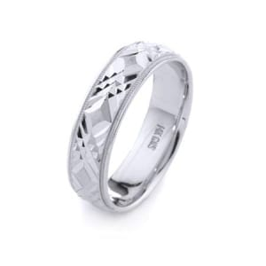 Modern Three X's Design High Quality Finishing Solid Fashion Wedding Band 14K White Gold 6MM Wide By 1.60MM Thick