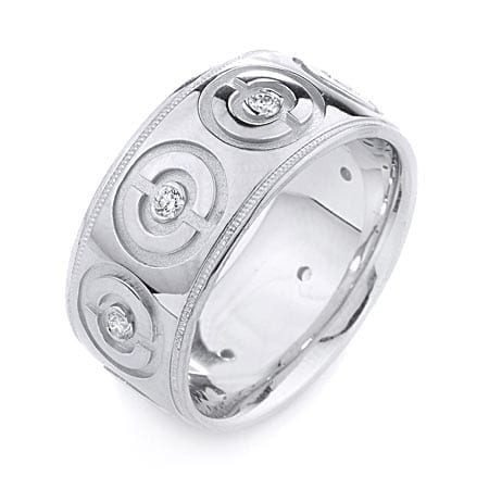 Modern Circles Design  High Quality Finishing Solid Fashion Wedding Band 14K White Gold with Diamond 10MM Wide By 2.20MM Thick