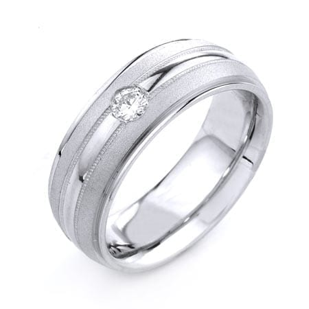 Modern One Line Design  High Quality Finishing Solid Fashion Wedding Band 14K White Gold with Diamond 8MM Wide By 2.70MM Thick