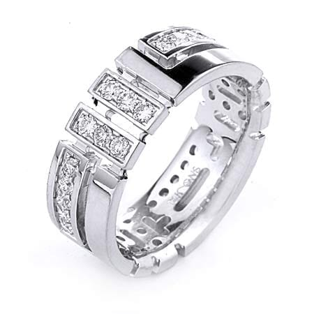 Modern Design High Quality Finishing Solid Fashion Wedding Band 14K White Gold with Diamond 8MM Wide By 2.20MM Thick