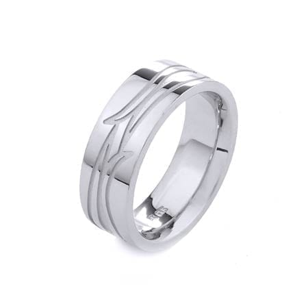 Modern Design High Quality Finishing Solid Fashion Wedding Band 14K White Gold 8MM Wide By 2.20MM Thick