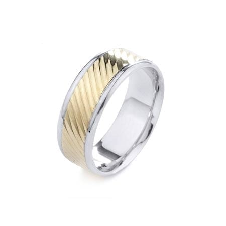 Two-Tone Modern Diagonal Design High Quality Finishing Solid Fashion Wedding Band 14K White & Yellow Gold 8MM Wide By 1.60MM Thick