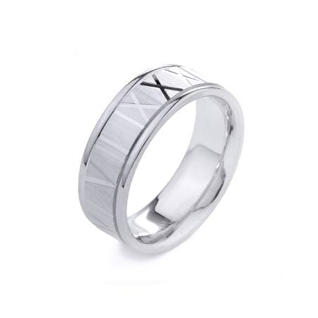 Modern Latin Numbers Design  High Quality Finishing Solid Fashion Wedding Band 14K White Gold 8.0MM Wide By 2.20MM Thick