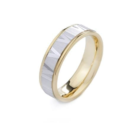 Two-Tone Modern Latin Numbers Design High Quality Finishing Solid Fashion Wedding Band 14K White & Yellow Gold  6.50MM Wide By 2.00MM Thick