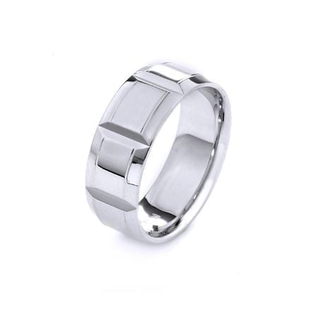 Modern Design High Quality Finishing Solid Fashion Wedding Band 14K White Gold  8MM Wide By 1.60MM Thick