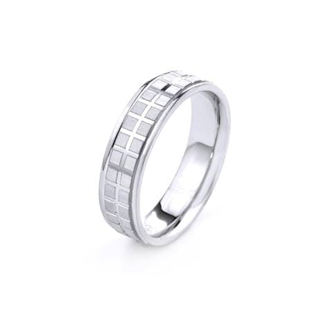 Modern Two Lines Disco Balls Design  High Quality Finishing Solid Fashion Wedding Band 14K White Gold 6MM Wide By 1.60MM Thick