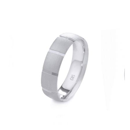 Modern Lines Design High Quality Finishing Solid Fashion Wedding Band 14K White Gold 6MM Wide By 1.60MM Thick