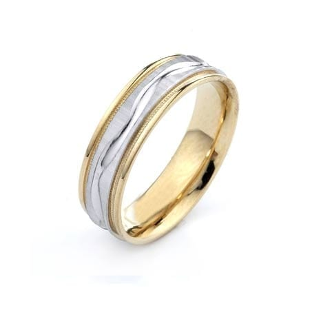 Two-Tone Modern Wavy Line & Milgrain Design High Quality Finishing Solid Fashion Wedding Band 14K White & Yellow Gold 6MM Wide By 1.60MM Thick