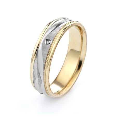 Two-Tone Modern Wavy Lines Design High Quality Finishing Solid Fashion Wedding Band 14K White & Yellow Gold 6MM Wide By 1.60MM Thick