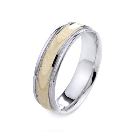Two-Tone Modern Wavy Lines & Milgrain Design High Quality Finishing Solid Fashion Wedding Band 14K White & Yellow Gold 6MM Wide By 1.60MM Thick