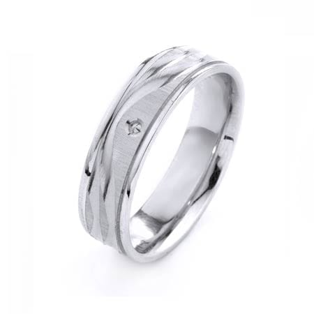 Modern Wavy Lines with Post Design High Quality Finishing Solid Fashion Wedding Band 14K White Gold 6MM Wide By 1.6MM Thick