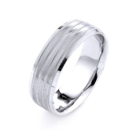 Modern Four Lines Milgrain Design High Quality Finishing Solid Fashion Wedding Band 14K White Gold 7MM Wide By 1.6MM Thick