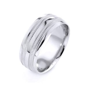 Modern Two Lines Design High Quality Finishing Solid Fashion Wedding Band 14K White Gold 8MM Wide By 1.6MM Thick