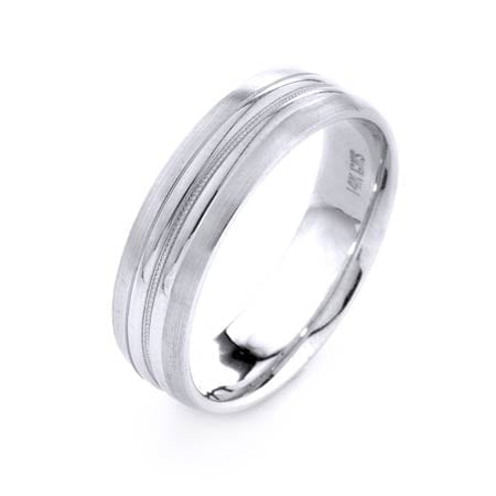 Modern One Line Miligrain Design High Quality Finishing Solid Fashion Wedding Band 14K White Gold 6MM Wide By 1.6MM Thick