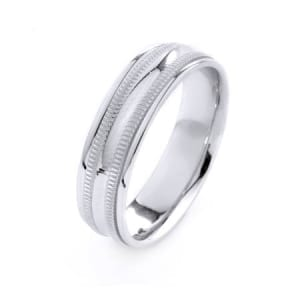 Modern Two Lines Milgrain Design High Quality Finishing Solid Fashion Wedding Band 14K White Gold 6MM Wide By 1.6MM Thick