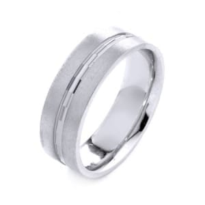 Modern Design High Quality Finishing Solid Fashion Wedding Band 14K White Gold 7MM Wide By 1.6MM Thick