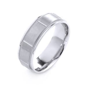 Modern Large Squares & Milgrain Design High Quality Finishing Solid Fashion Wedding Band 14K White Gold 7MM Wide By 1.6MM Thick