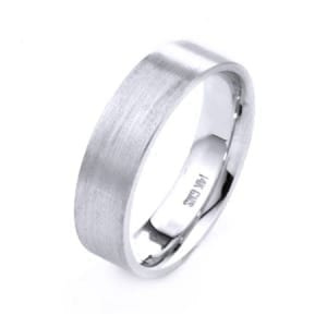 Modern Flat Design High Quality Finishing Solid Fashion Wedding Band 14K White Gold 6MM Wide By 1.6MM Thick