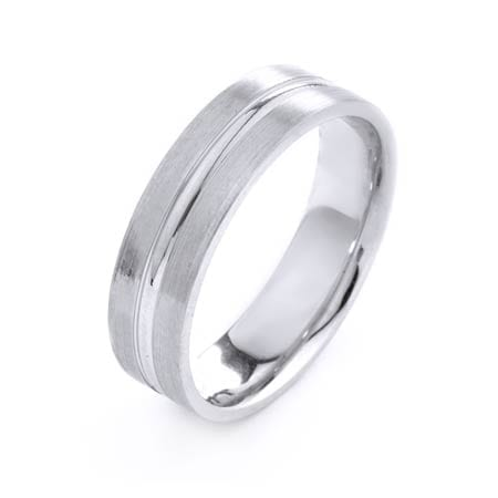 Modern Flat with One Line Design High Quality Finishing Solid Fashion Wedding Band 14K White Gold 6MM Wide By 1.6MM Thick