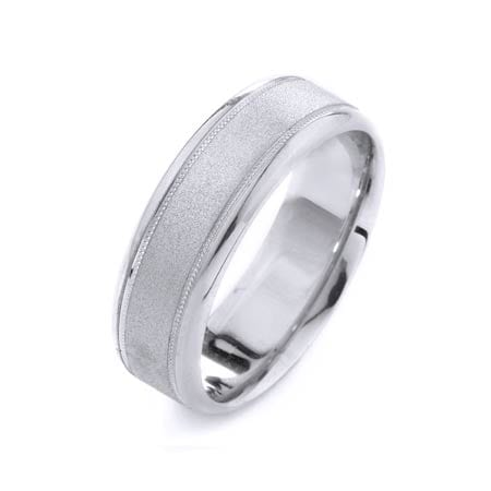 Modern Migrain Design High Quality Finishing Solid Fashion Wedding Band 14K White Gold 7MM Wide By 1.6MM Thick