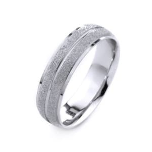 Modern Shiny with One Line Design High Quality Finishing Solid Fashion Wedding Band 14K White Gold 6MM Wide By 1.6MM Thick