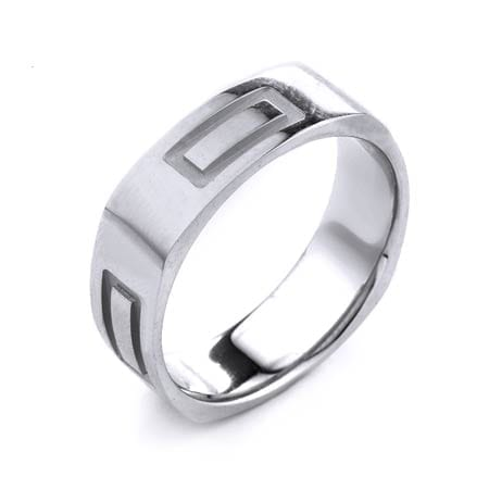 Modern Rectangles Design High Quality Finishing Solid Fashion Wedding Band 14K White Gold 6.5MM Wide By 1.6MM Thick
