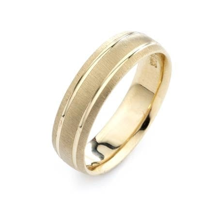Modern Two Lines Design  High Quality Finishing Solid Fashion Wedding Band 14K Yellow Gold 6MM Wide By 1.6MM Thick