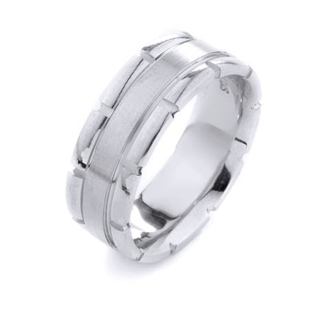 Modern Large Squares Design High Quality Finishing Solid Fashion Wedding Band 14K White Gold 8MM Wide By 2.20MM Thick