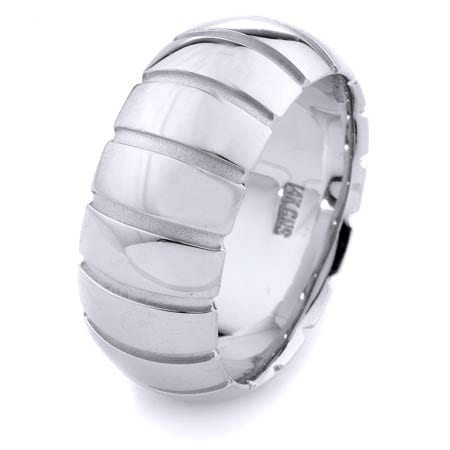 Modern Lines Design High Quality Finishing Solid Fashion Wedding Band 14K White Gold 10MM Wide By 2.20MM Thick