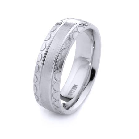 Modern Semicircles Design High Quality Finishing Solid Fashion Wedding Band 14K White Gold 7MM Wide By 2.20MM Thick
