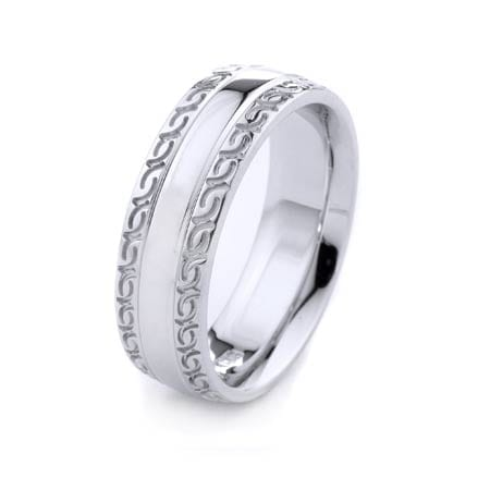 Modern Design High Quality Finishing Solid Fashion Wedding Band 14K White Gold 7MM Wide By 2.20MM Thick