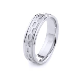Modern Chain Design High Quality Finishing Solid Fashion Wedding Band 14K White Gold 6MM Wide By 2.00MM Thick