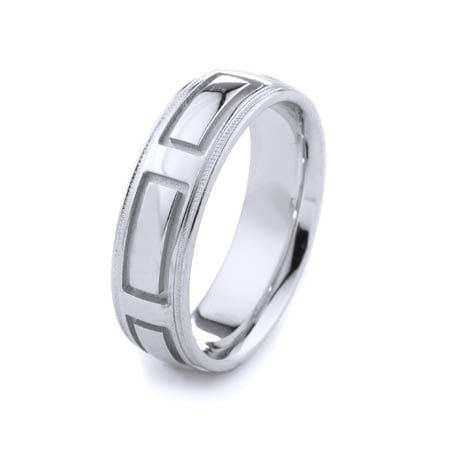 Modern Rectangles & Milgrain Design High Quality Finishing Solid Fashion Wedding Band 14K White Gold 6.5MM Wide By 2.00MM Thick