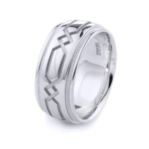 Modern Design High Quality Finishing Solid Fashion Wedding Band 14K White Gold 10MM Wide By 2.20MM Thick