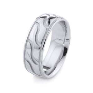 Modern Wavy Lines & Milgrain Design High Quality Finishing Solid Fashion Wedding Band 14K White Gold 8MM Wide By 2.20MM Thick